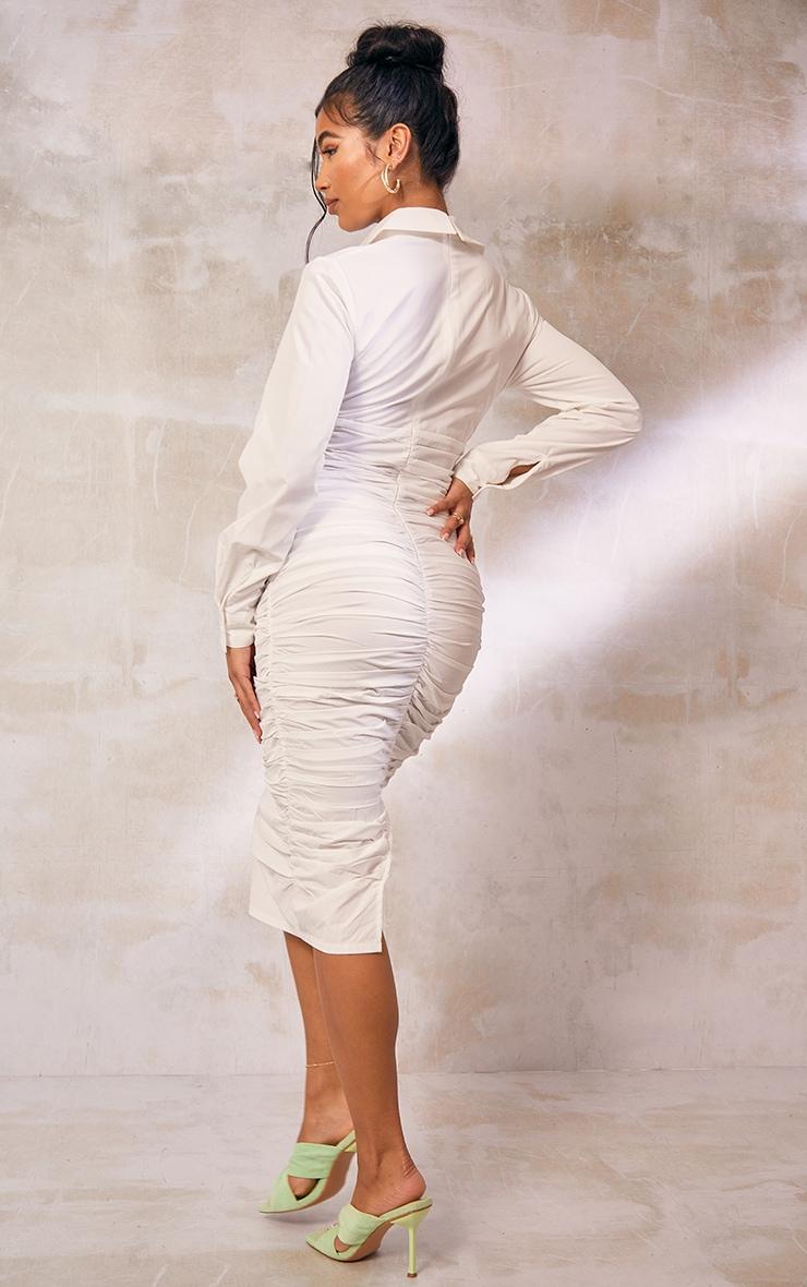 White Pocket Detail Long Sleeve Ruched Midi Shirt Dress 2