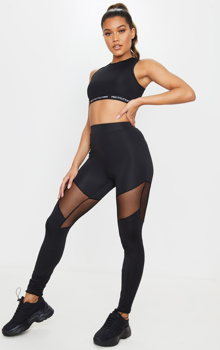 Black Mesh Thigh Gym Legging 1