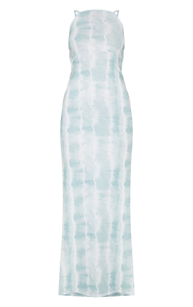 Teal Tie Dye Racer Neck Low Back Maxi Dress 5