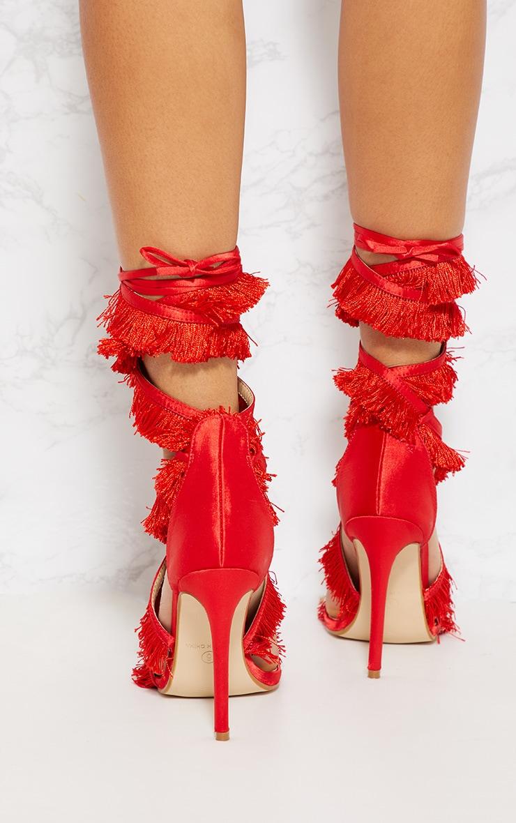 Red Fringe Tassel Leg Tie Sandal 4