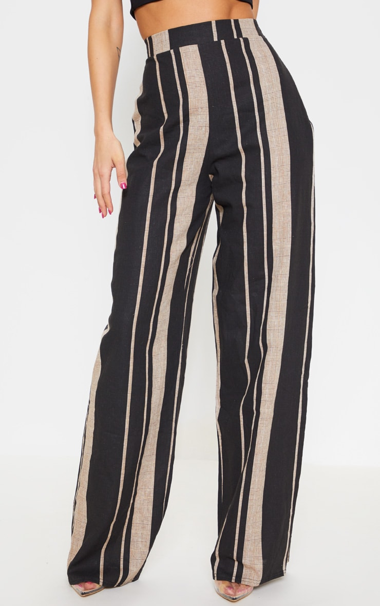 Black Woven Wide Leg Stripe Trouser 2