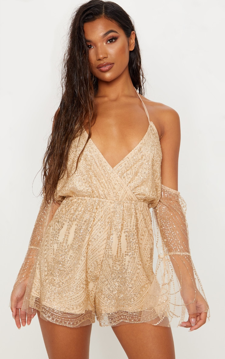 b9bef4e29005 Gold Glitter Cold Shoulder Playsuit image 1