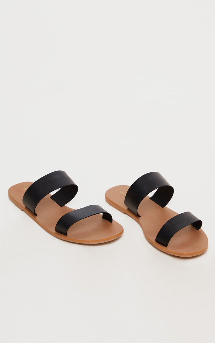 Black Wide Fit Leather Twin Strap Sandal 2