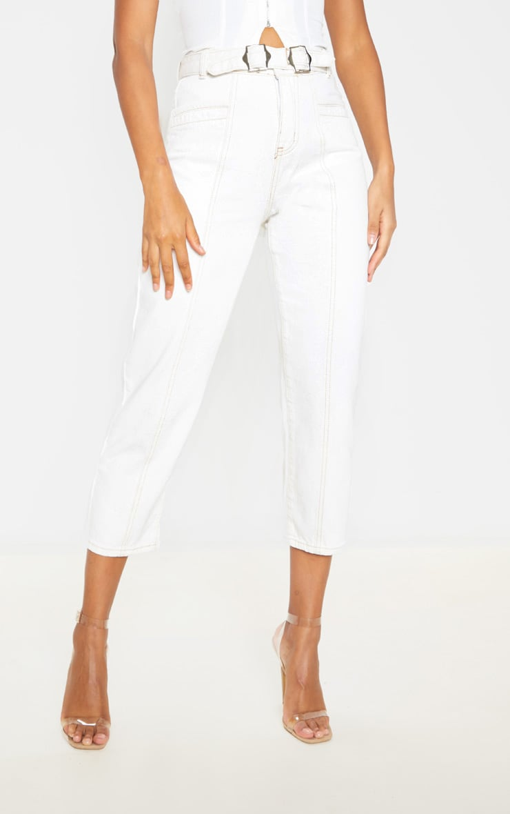 Ecru With Contrast Stitch Belted Straight Leg Cropped Jeans 2