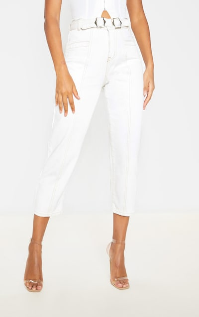 Ecru With Contrast Stitch Belted Straight Leg Cropped Jeans