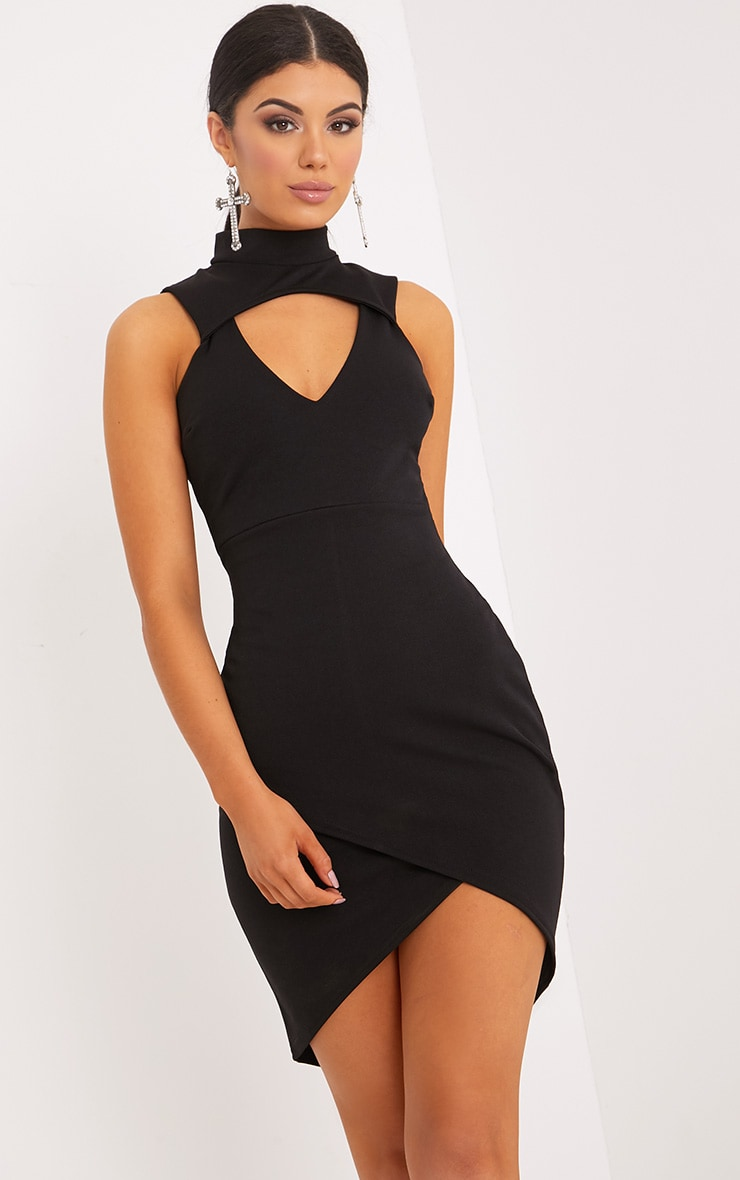 Hallee Black High Neck Cut Out Midi Dress 1