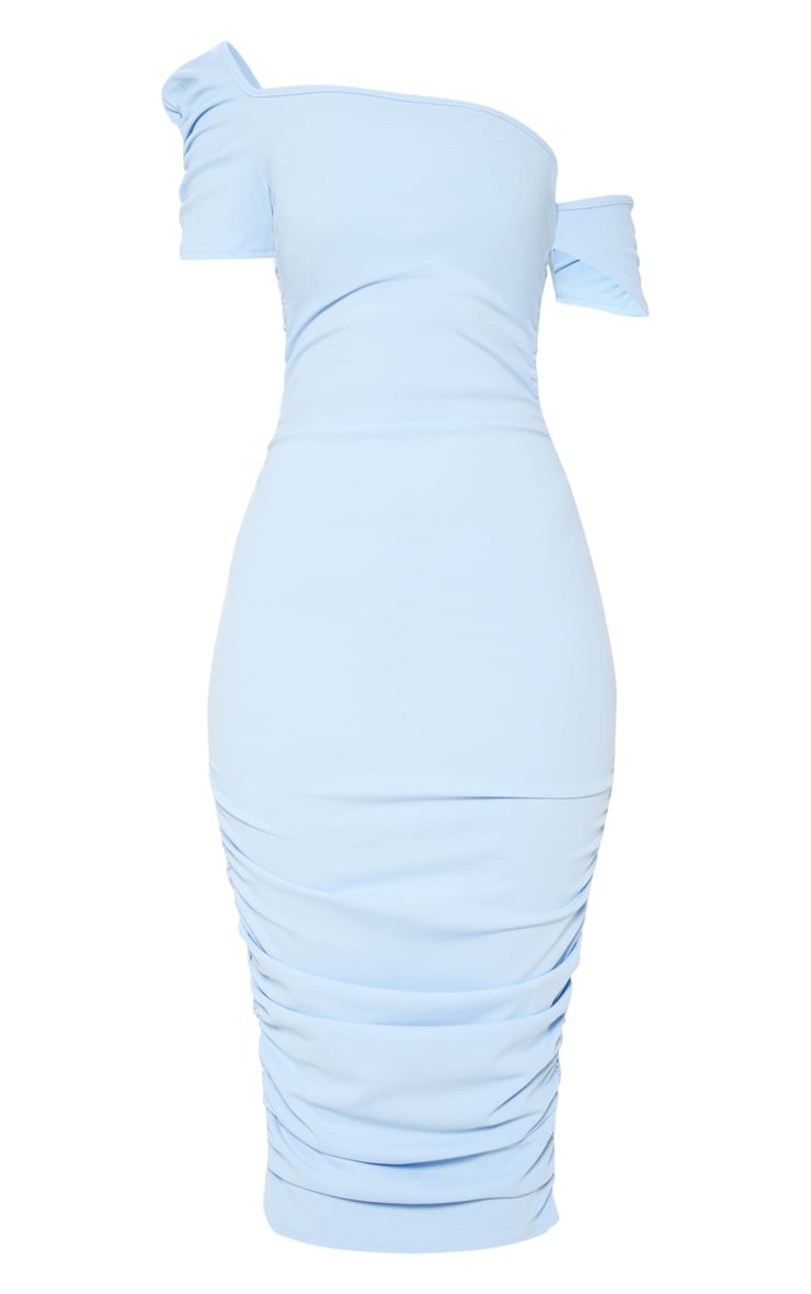 Dusty Blue One Shoulder Ruched Detail Bodycon Dress 3