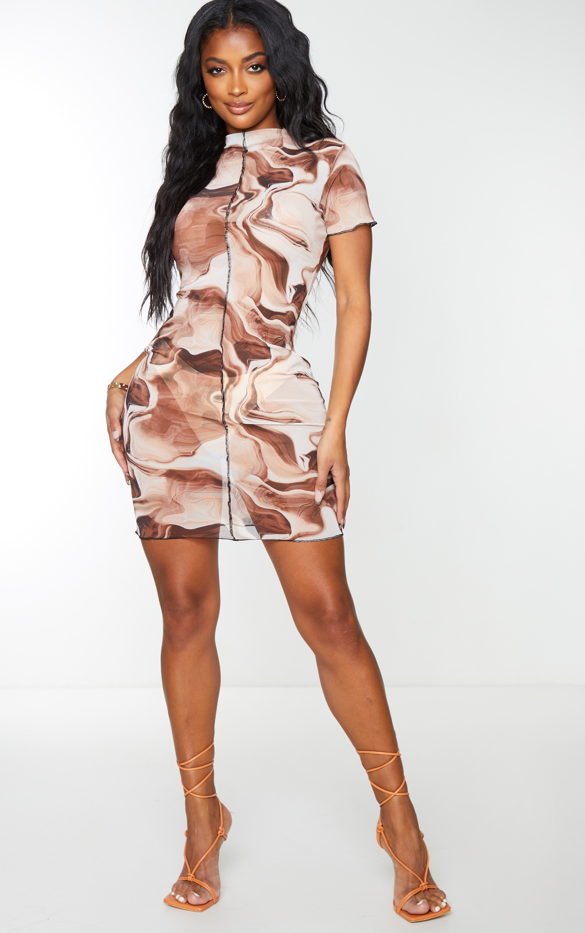 Shape Brown Tie Dye Sheer Mesh Seam Detail Bodycon Dress 4