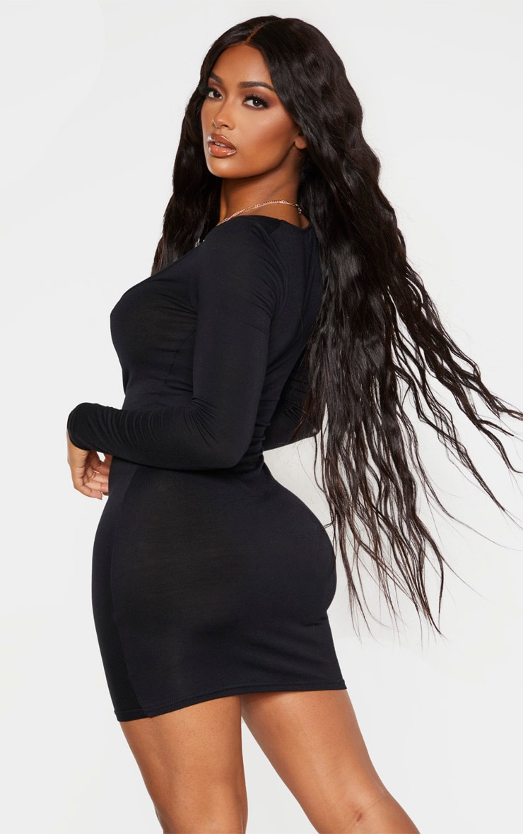 Shape Black Jersey Ruched Front Long Sleeve Dress 2