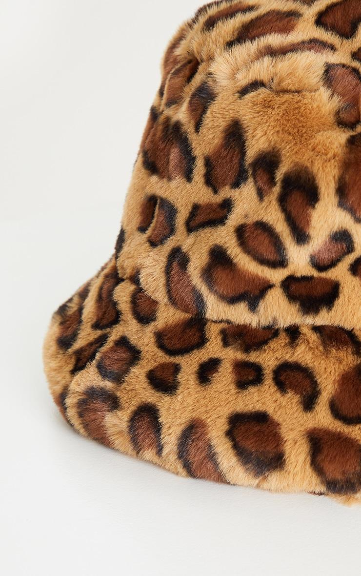 Leopard Faux Fur Bucket Hat 3