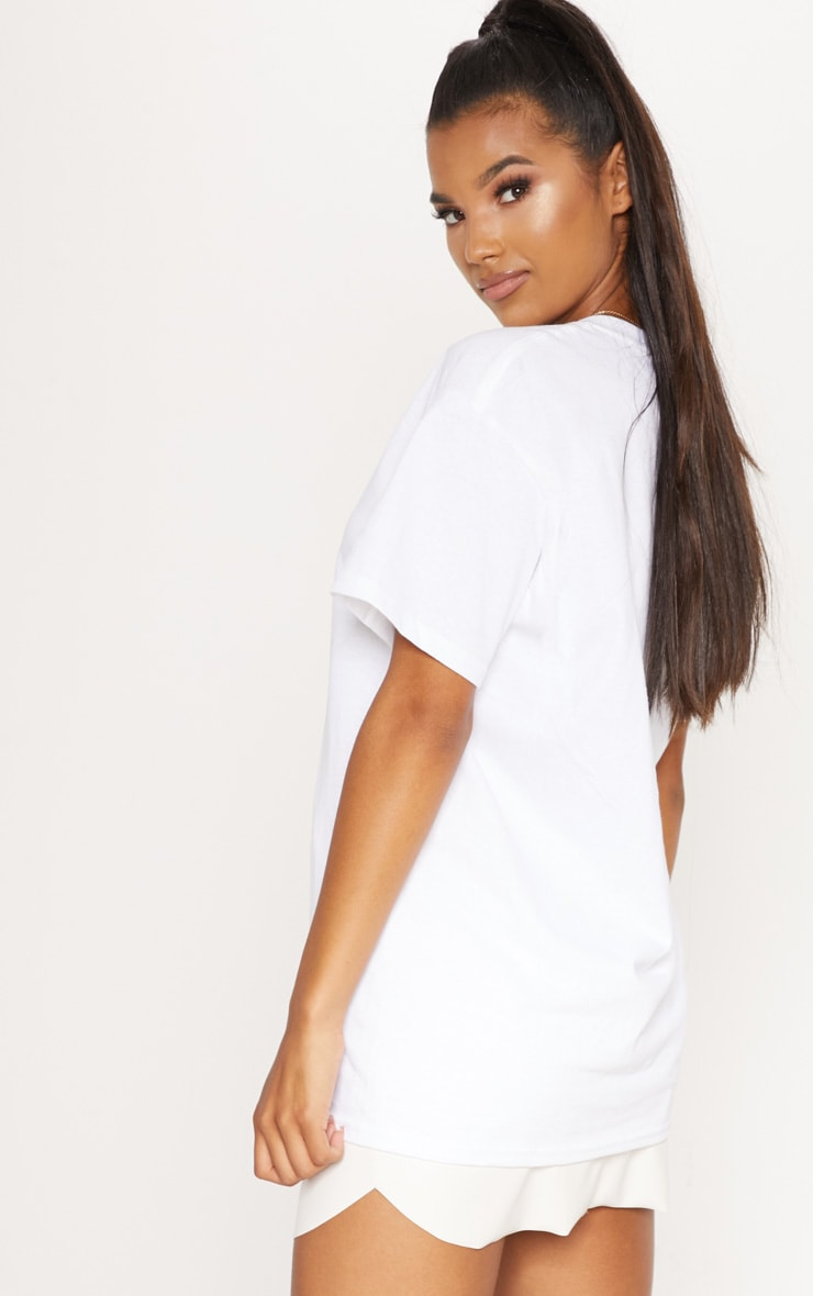 White Malibu Embroidered Oversized T shirt 2