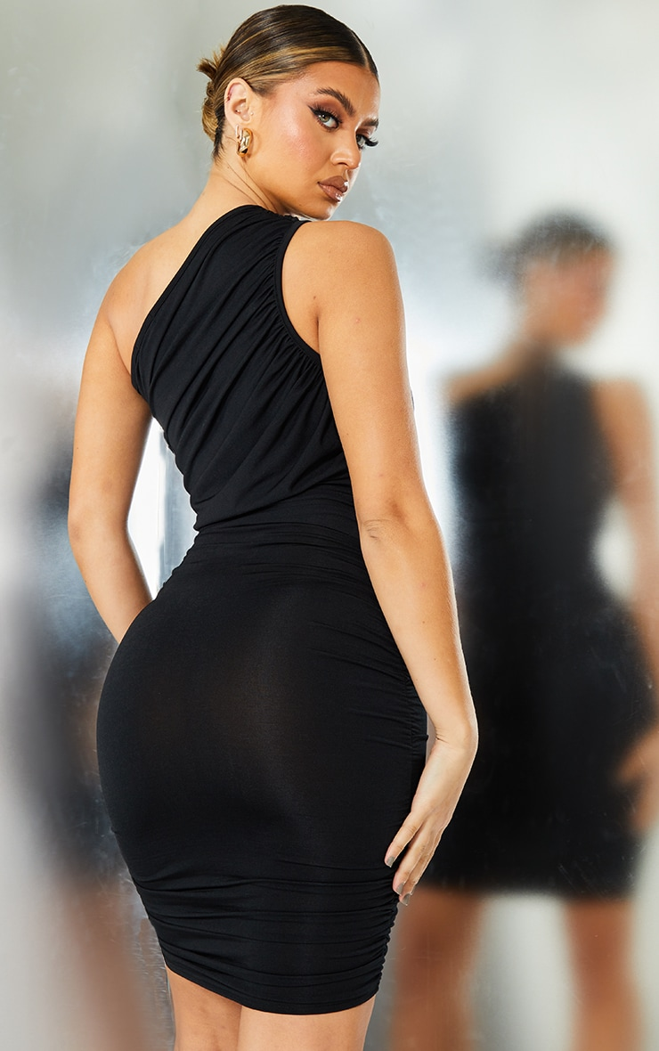 Black Slinky Ruched One Shoulder Bodycon Dress 2