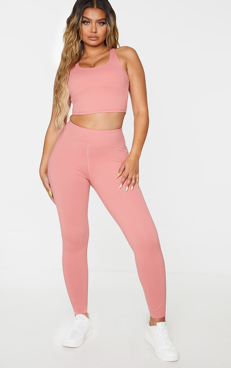 Rose Brushed Contour Stitch Detailing Gym Leggings 1
