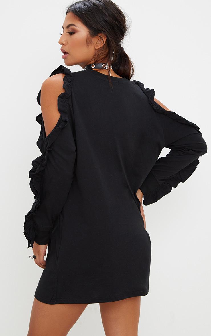 Black Frill Cold Shoulder T Shirt Dress 2
