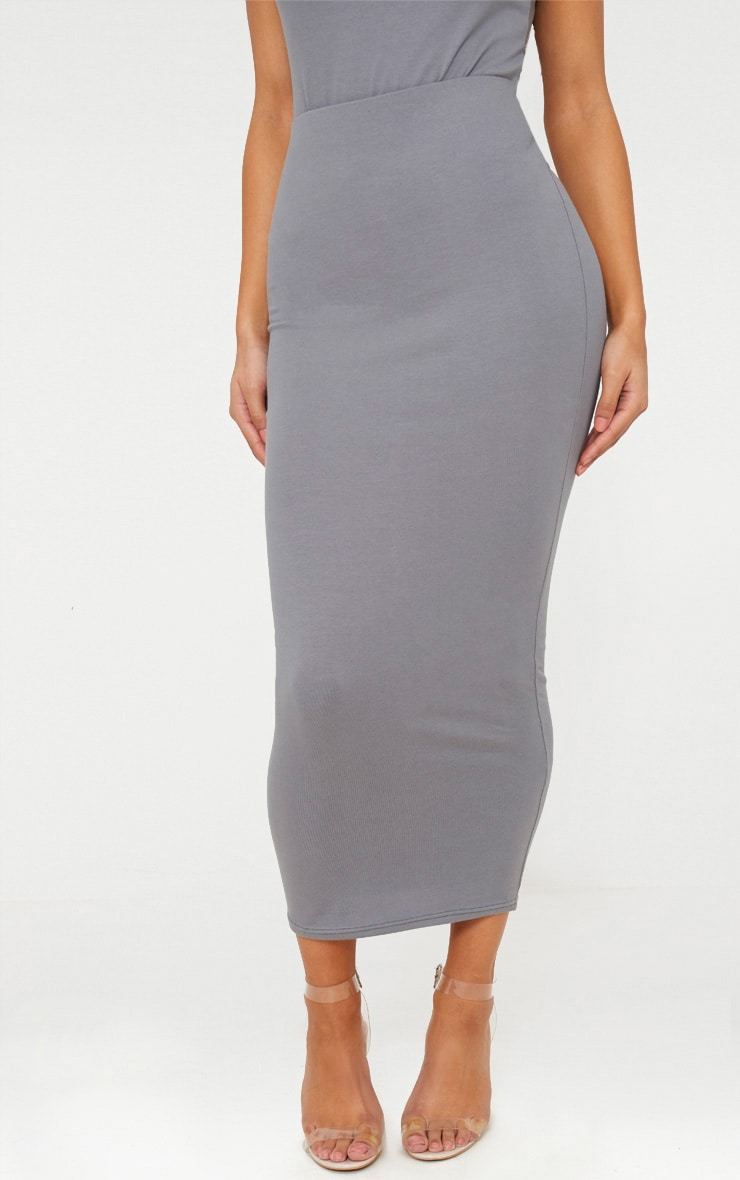 Charcoal Grey Cotton Stretch Midaxi Skirt  2