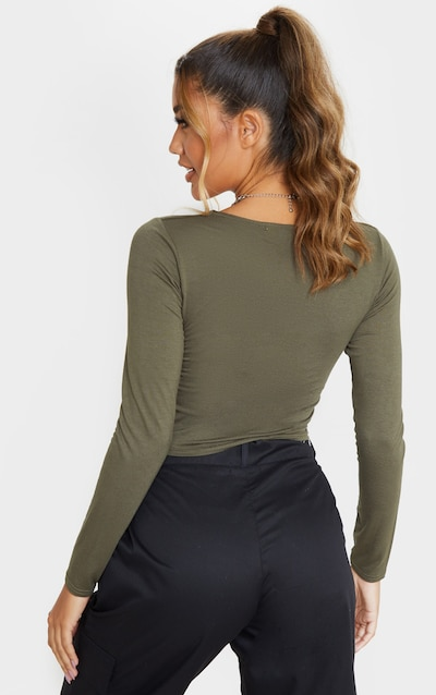Khaki Button Front Long Sleeve Crop Top