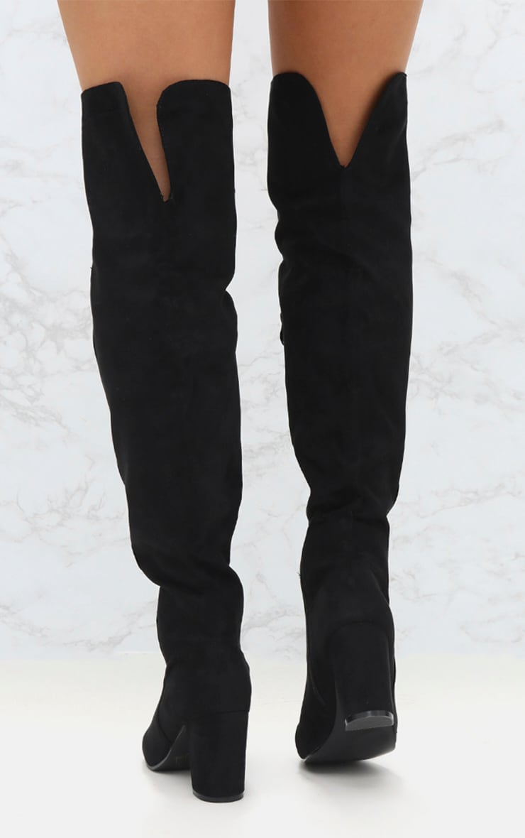 Black Microfibre Mid Heel Thigh Boot 4