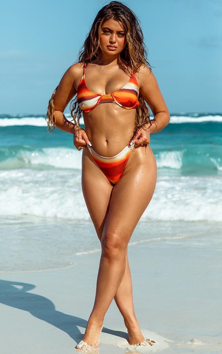 Orange Ombre High Leg Bikini Bottom 3