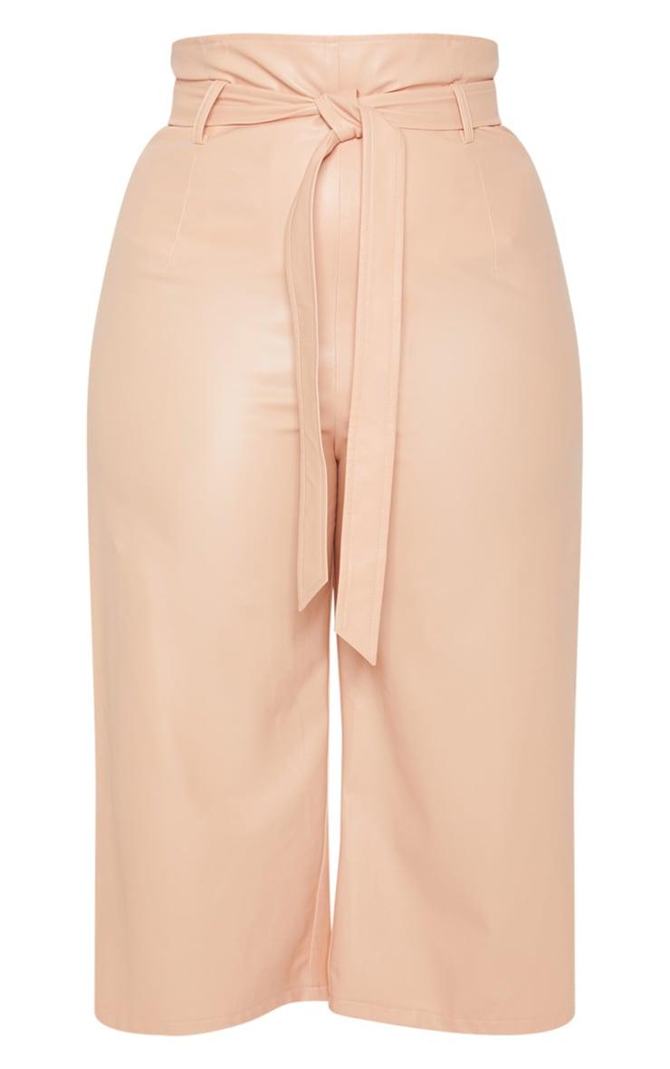 Plus Nude Faux Leather Belt Detail Culotte  3
