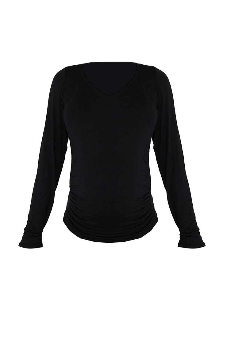 Maternity Black Jersey Ruched Bump Long Sleeve Top 5