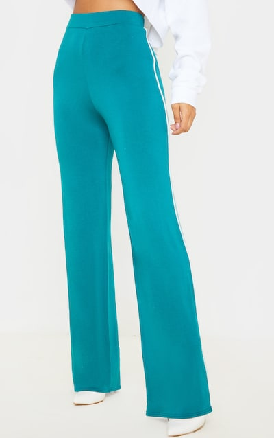 Jasper Green Side Stripe Jersey Wide Leg Trouser