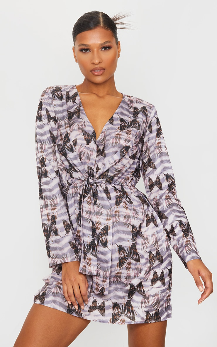 Multi Butterfly Print Wrap Knot Tea Dress 3