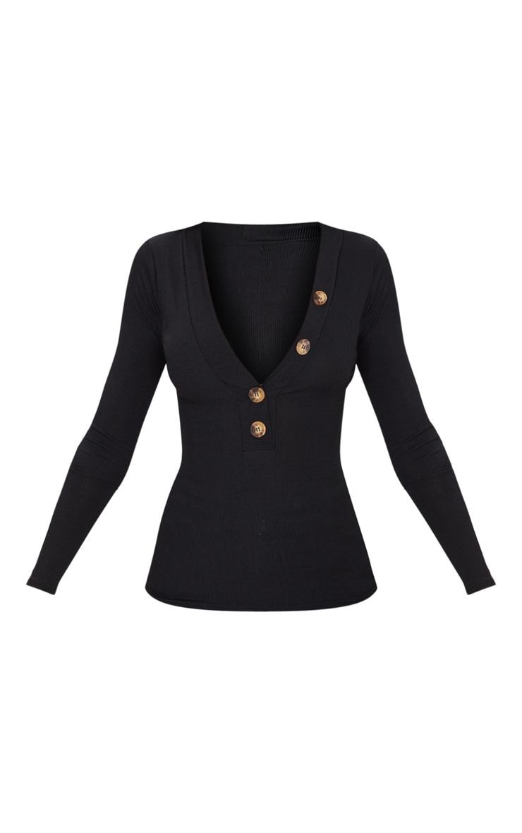 Black Rib Button Plunge Detail Long Sleeve Top 3