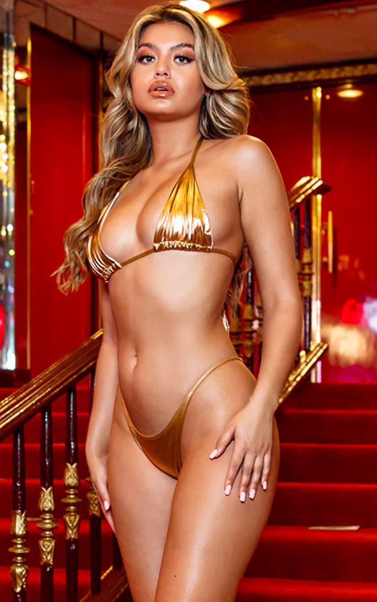 Gold Metallic Triangle Bikini Top 1