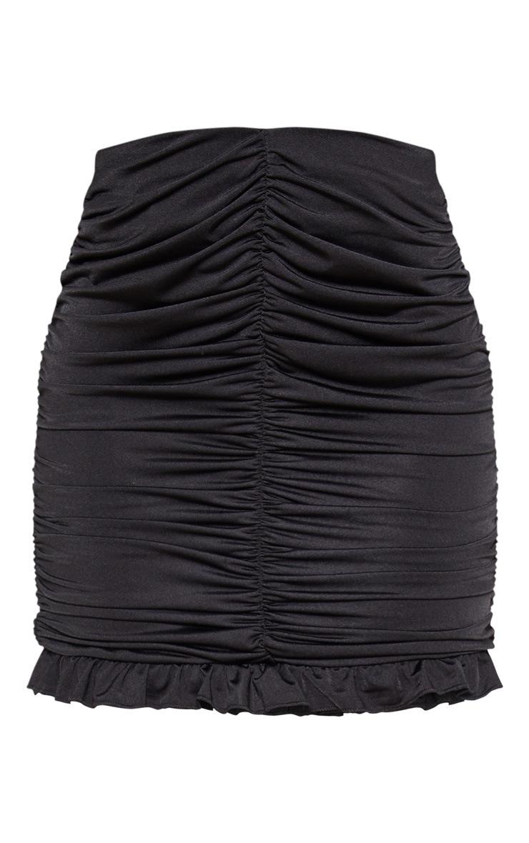 Black Slinky Ruched Frill Hem Mini Skirt 3