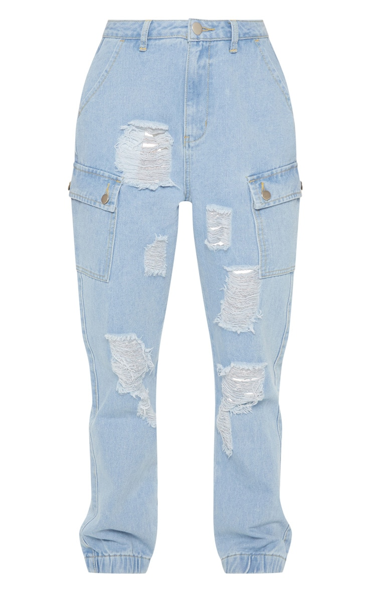 Light Wash Distressed Cargo Pocket Jeans 3