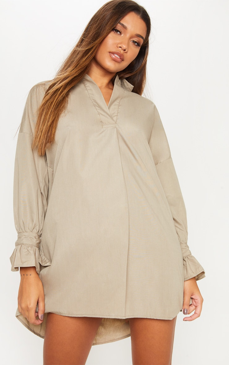 Khaki Oversized Tie Sleeve Smock Shirt Dress 4