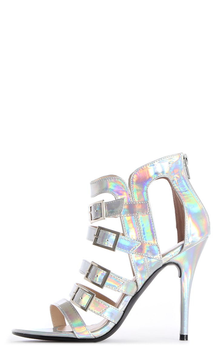 Freya Holographic Strappy Cage Heels 1