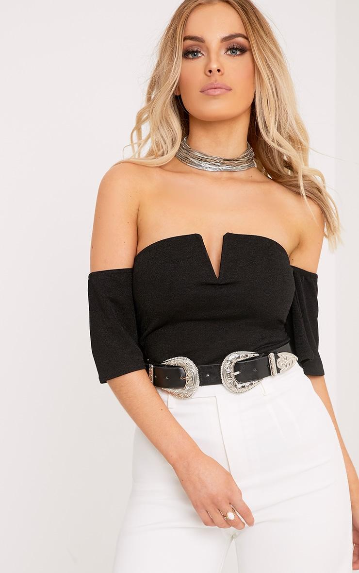 Cassandra Black Bandeau V Front Sleeved Thong Bodysuit 1