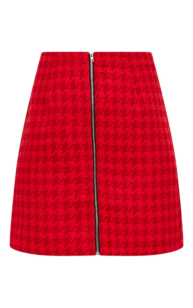 Red Jacquard Dogtooth Front Zip Mini Skirt 3