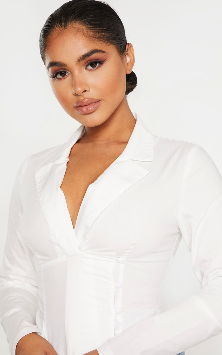 Petite White Plunge Detail Button Side Blouse 4