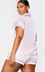 PRETTYLITTLETHING Plus Pink Satin Pocket PJ Set 2