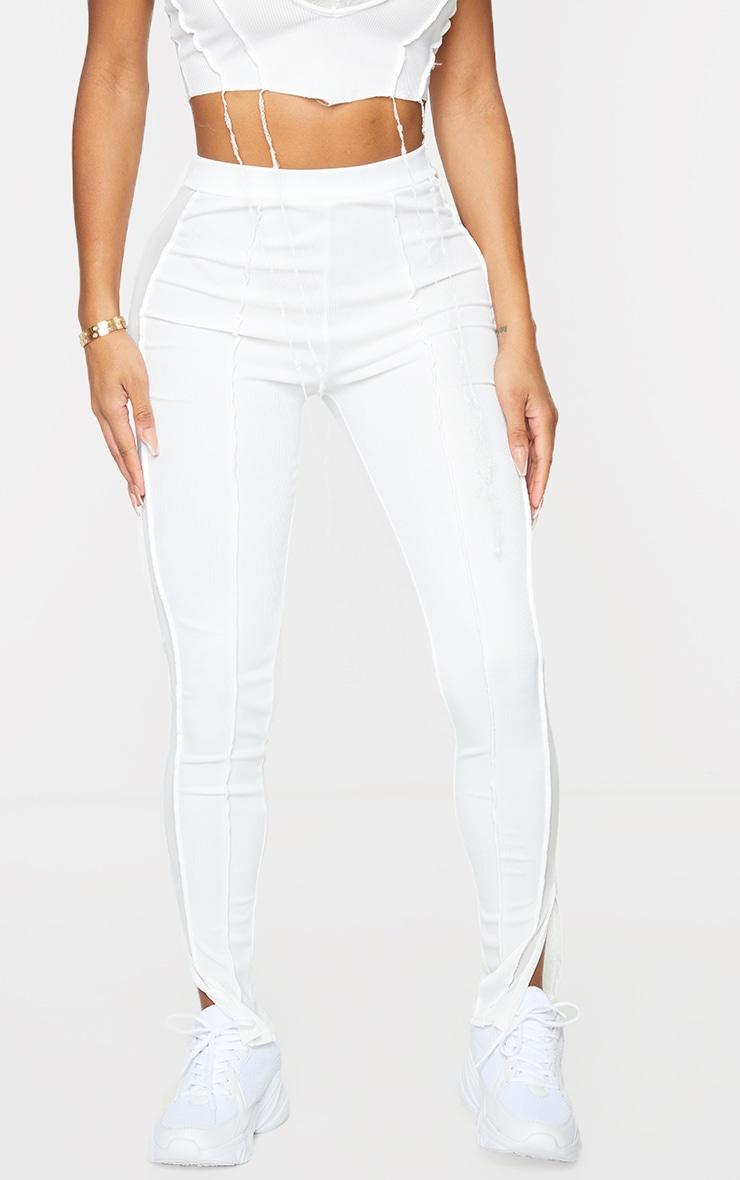 Shape White Rib Mesh Panel Seam Detail Leggings 2