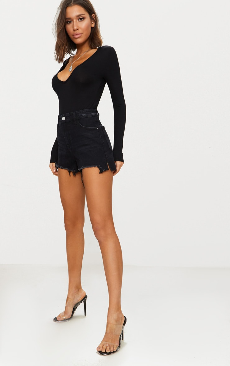 Basic Black Plunge Long Sleeve Bodysuit 4