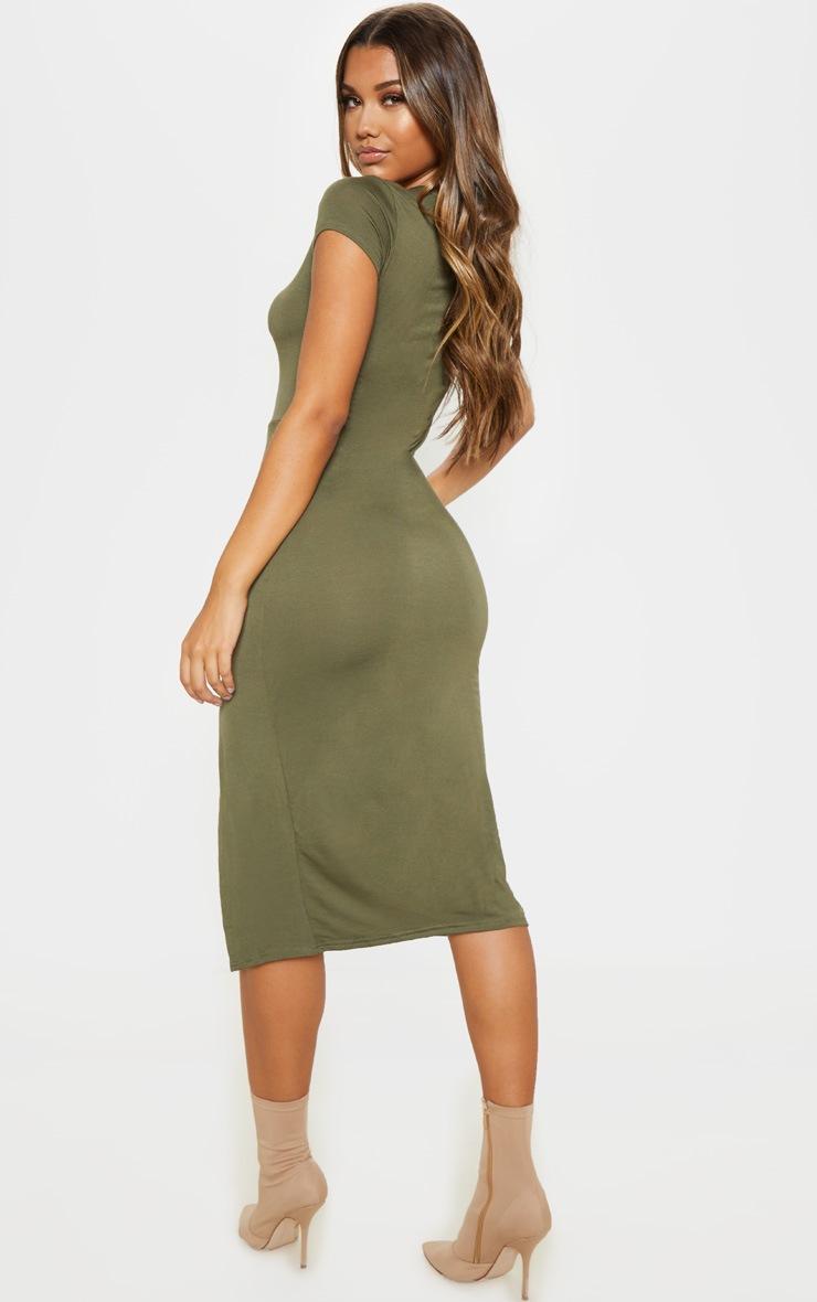 Khaki Crew Neck Short Sleeve Split Midi Dress 2