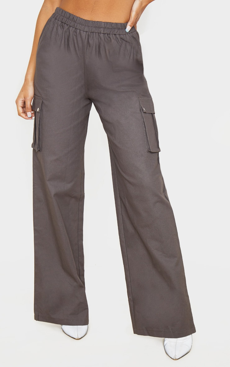 Charcoal Wide Leg Cargo Trouser 2