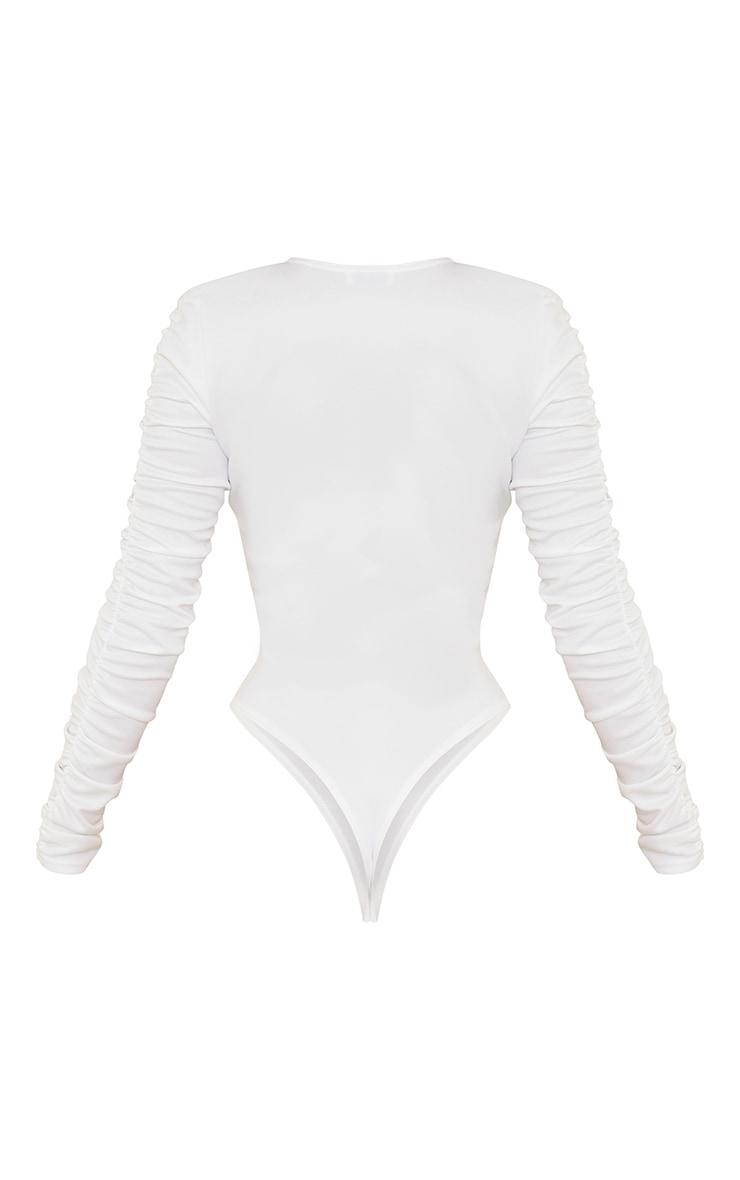 White Crepe Ruched Plunge Long Sleeve Bodysuit 6