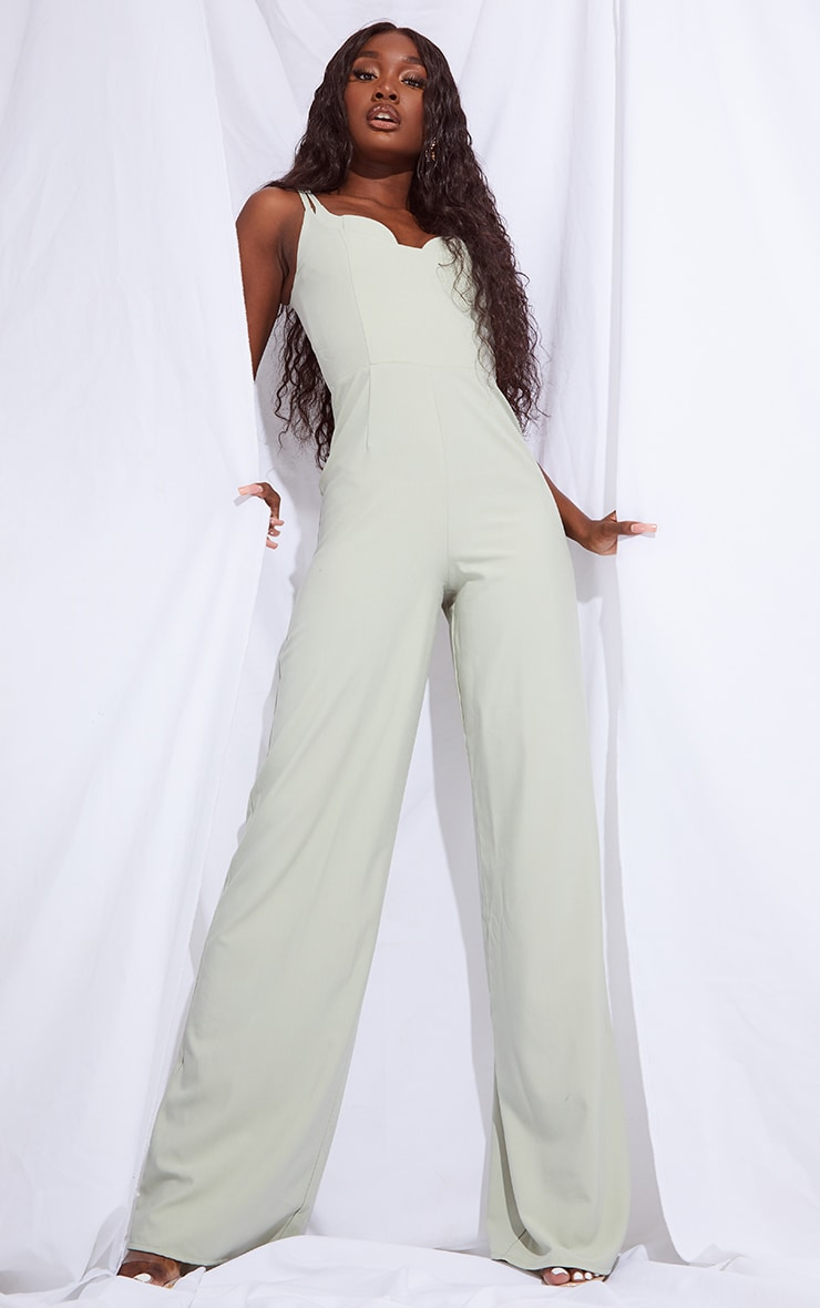 Tall Sage Green Cup Detail Wide Leg Jumpsuit 1