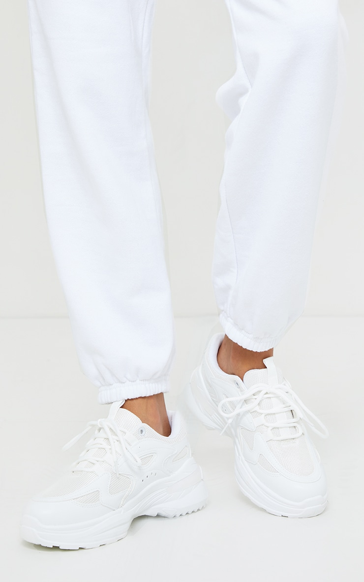 White Contrast Mesh Sneakers 2