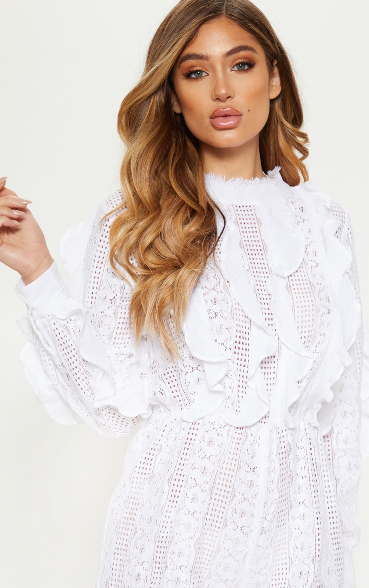 White Lace Frill Detail Long Sleeve Playsuit 5