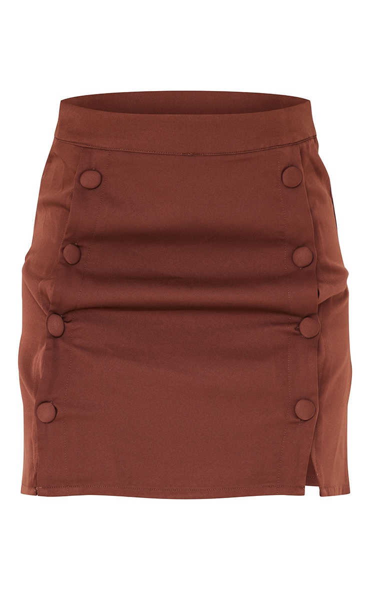 Chocolate Brown Woven Button Front Mini Suit Skirt 6