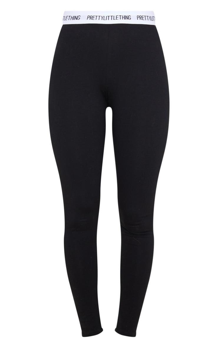 PRETTYLITTLETHING - Legging en coton noir à taille haute 5