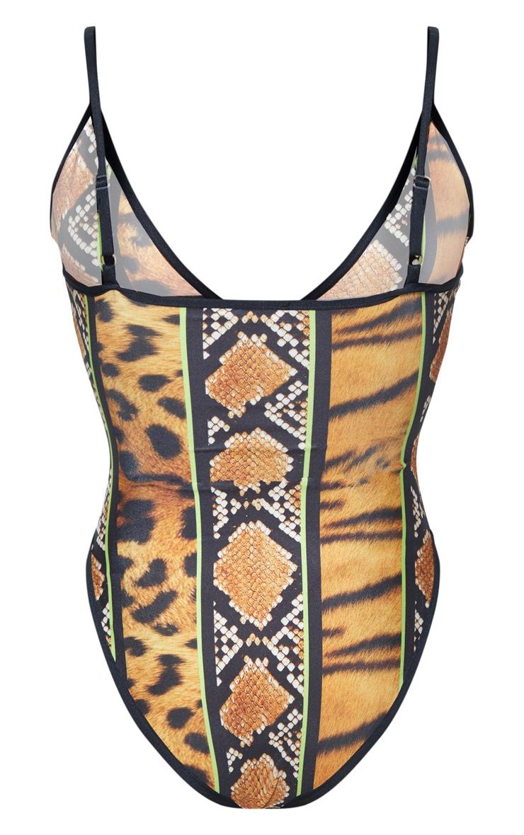 Plus Orange Stripe Tiger Print Plunge Swimsuit 4