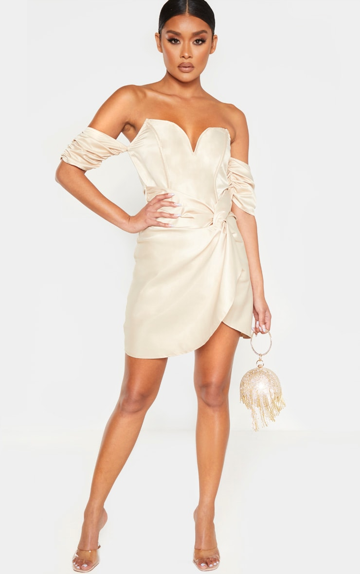Champagne Satin V Bar Ruched Bodycon Dress 4