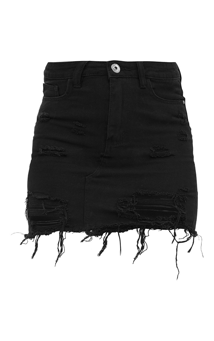 Black Distressed Rip Denim Mini Skirt 3