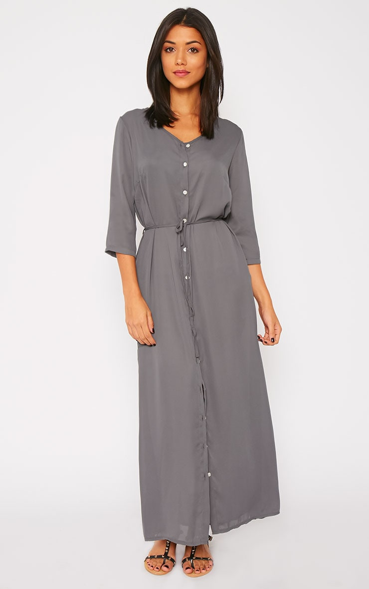 Mikayla Grey Maxi Button Up Shirt Dress 3